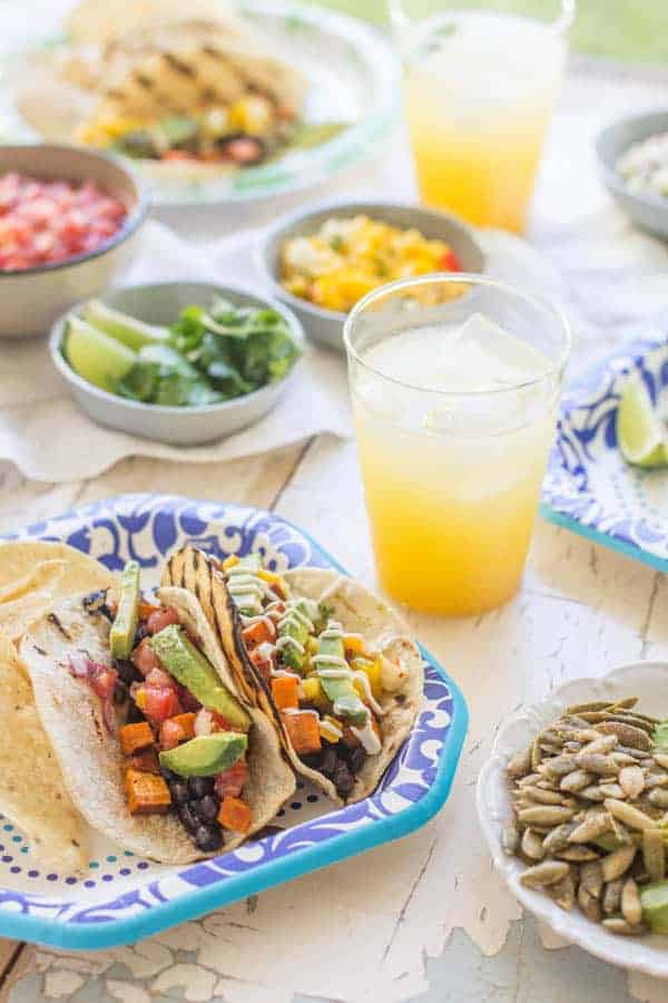 Roasted Sweet Potato and Black Bean Tacos recipe by @beardandbonnet. #bemorehere with @dixieproducts { www.thismessisours.com }