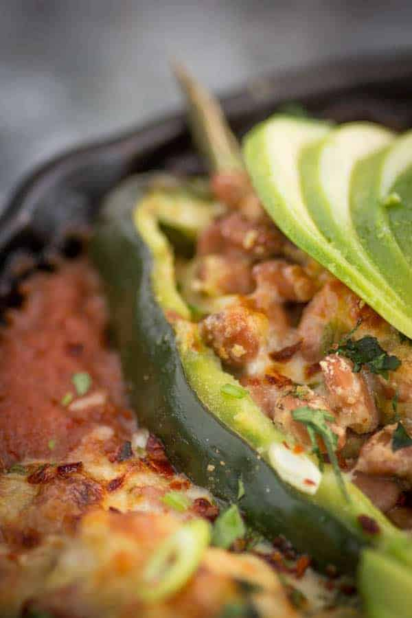 Pinto Bean and Pepper Jack Stuffed Poblano Peppers recipe with @Massel by @beardandbonnet www.thismessisours.com