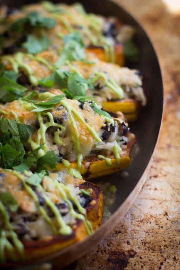 Delicata Squash Burrito Bowls recipe by @beardandbonnet on www.beardandbonnet.com