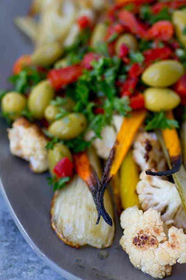 Giardiniera Roasted Vegetables recipe by @beardandbonnet www.thismessisours.com