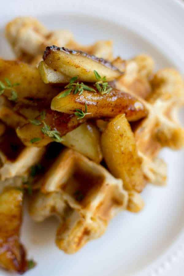 Savory Cheddar Waffles with Sautéed Honey Apples recipe by @beardandbonnet on www.thismessisours.com