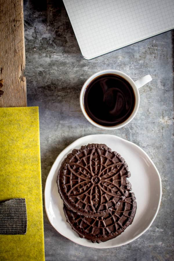 Chocolate Pizzelle recipe by @beardandbonnet on www.beardandbonnet.com