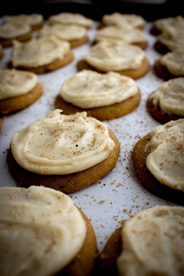 Brown Butter Iced Pumpkin Cookies recipe on @beardandbonnet