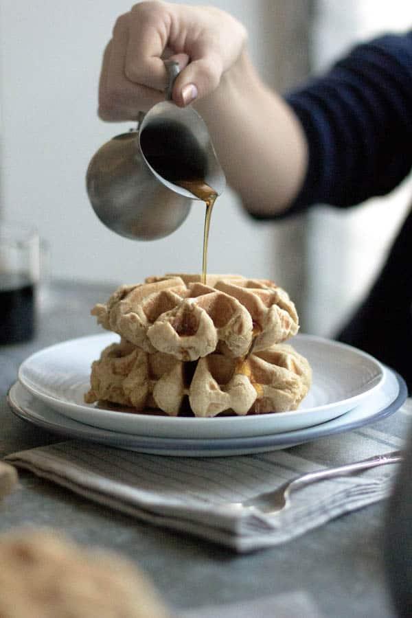 Eggnog Waffles recipe by @beardandbonnet on www.thismessisours.com