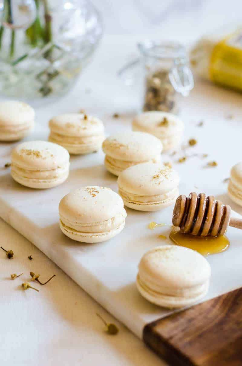 Chamomile and Caramelized Honey Macarons by A Cookie Named Desire in our 5 Delicious Ways to Indulge with Fresh Chamomile on www.beardandbonnet.com