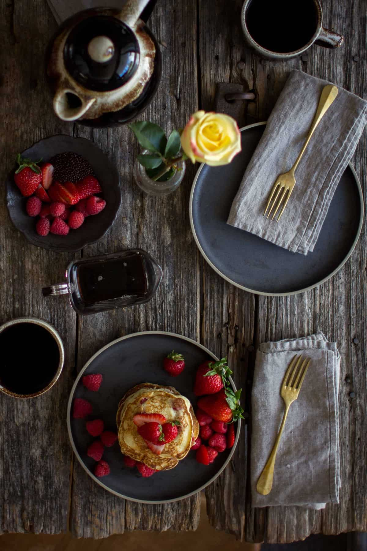 Mixed Berry Ricotta Pancakes by @beardandbonnet on www.thismessisours.com