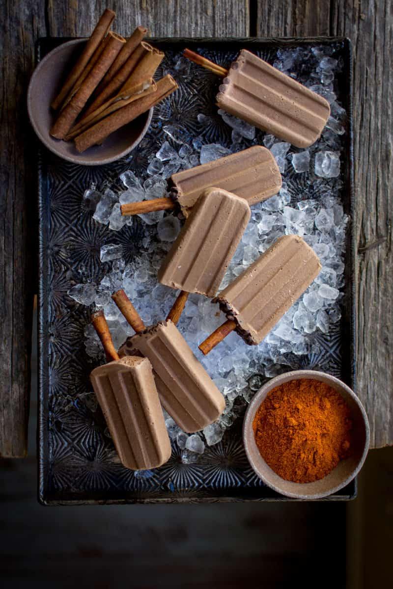Vegan Mexican Chocolate Popsicles recipe by @beardandbonnet on @holajalapeno