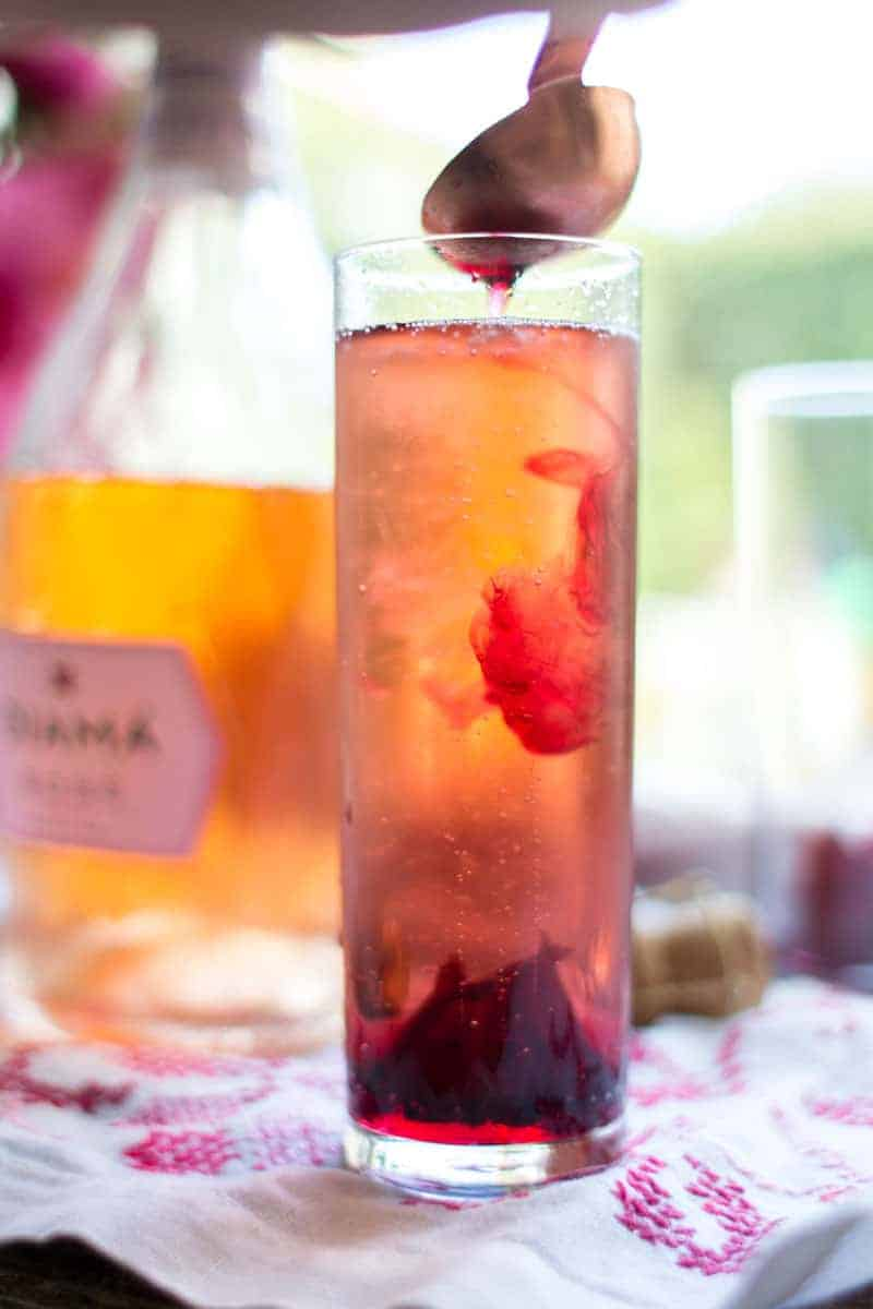 Hibiscus Rosé Mimosas recipe by @beardandbonnet on www.thismessisours.com
