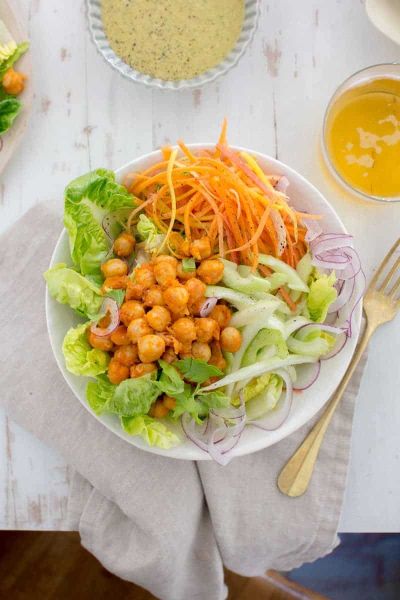 Easy Buffalo Chickpea Bowls recipe by @beardandbonnet. Dinner is on the table in 30 minutes with this one!