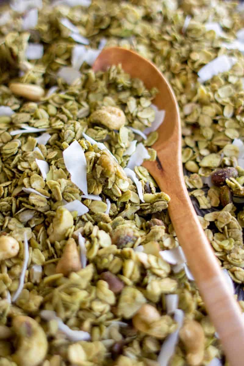 Gorgeous Green Tea Granola recipe by @beardandbonnet