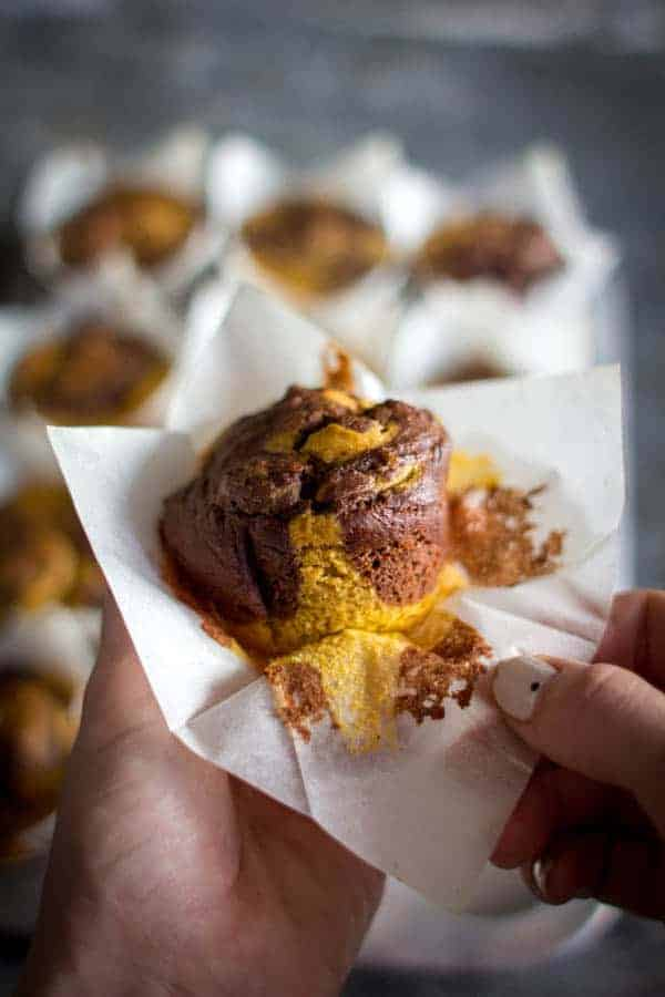 Decadent Marbled Pumpkin Muffins - the perfect baked treat for fall! Great for breakfast, snacks and even dessert! #glutenfree recipe on @beardandbonnet.com