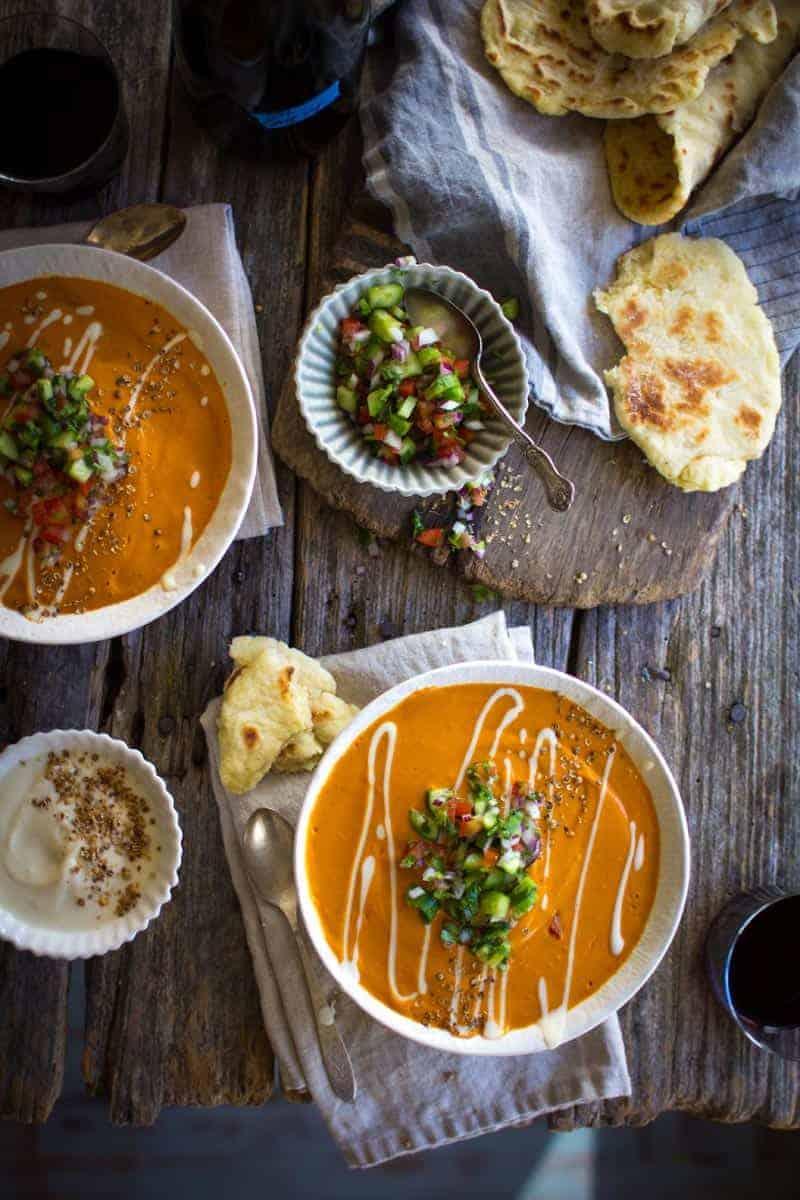 Easy, 30 minute, Vegan Curried Tomato Soup recipe with @LoveMySilk on @beardandbonnet #LoveMySilk