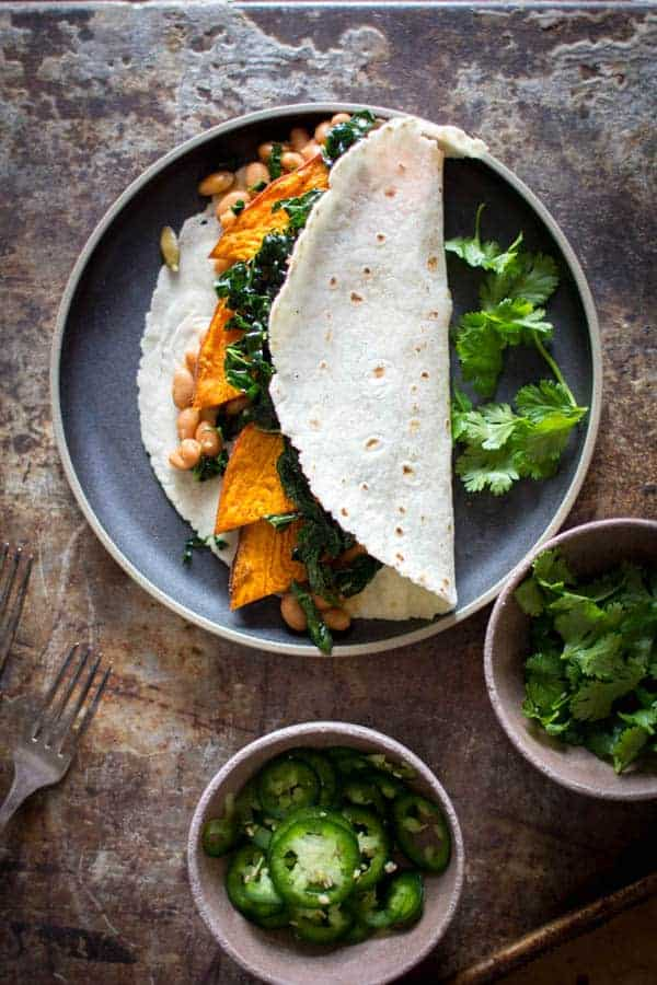 Irresistible 25 Minute Sweet Potato, Beans and Greens Tacos | The perfect dinner for busy weeknights. | recipe by @beardandbonnet