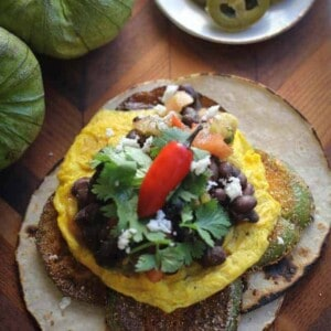 Huevos Rancheros with Fried Green Tomatillos {Beard and Bonnet}