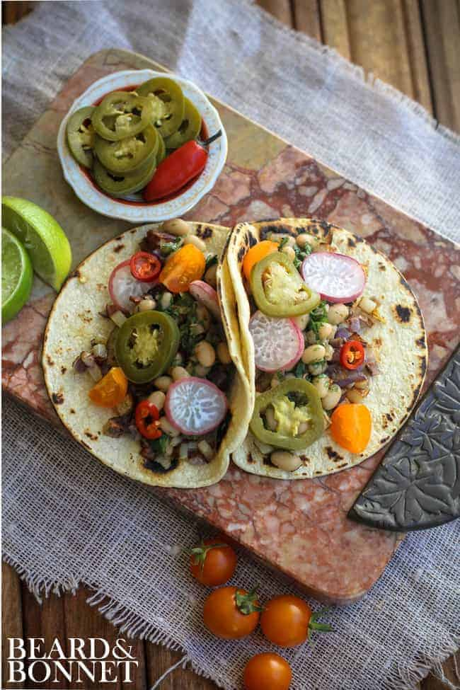 White Bean and Potato Tacos {Beard and Bonnet}