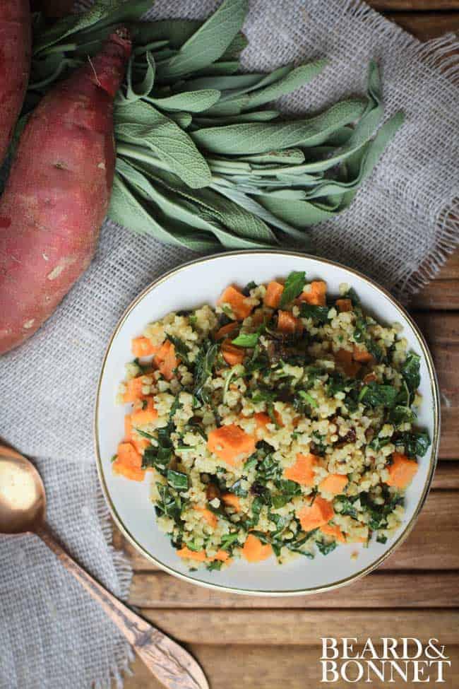 Roasted Sweet Potato, Tuscan Kale, and Millet Salad {Beard and Bonnet} #glutenfree #vegan