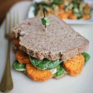 Roasted Sweet Potato Sandwich with Cilantro Cashew Cream {Beard and Bonnet} #glutenfree #vegan