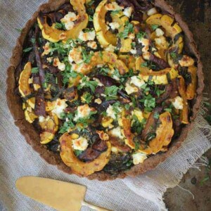Mixed Baby Greens, Delicata Squash, Caramelized Onions and Feta Tart
