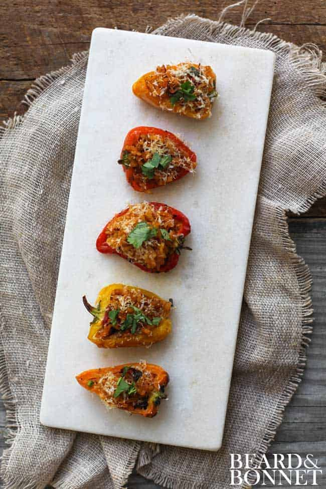 Paella Stuffed Mini Bell Peppers {Beard and Bonnet} #glutenfree #vegan option