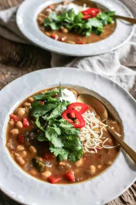 Close up of 2 bowls of Chickpea and White Bean Chili