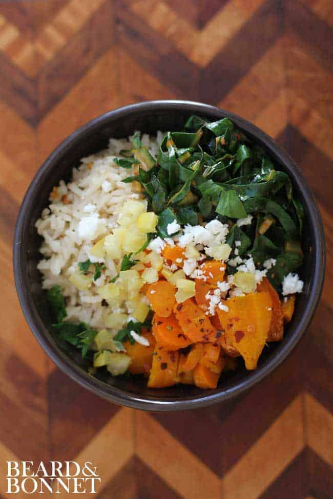 Spicy Harissa Greens and Roasted Carrot Rice Bowl {Beard and Bonnet} #glutenfree #vegan
