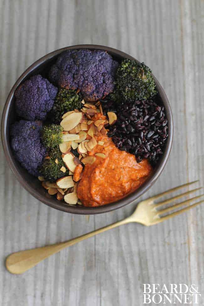 Black Rice, Romesco, and Roasted Veggie Bowls {Beard and Bonnet} #glutenfree #vegan
