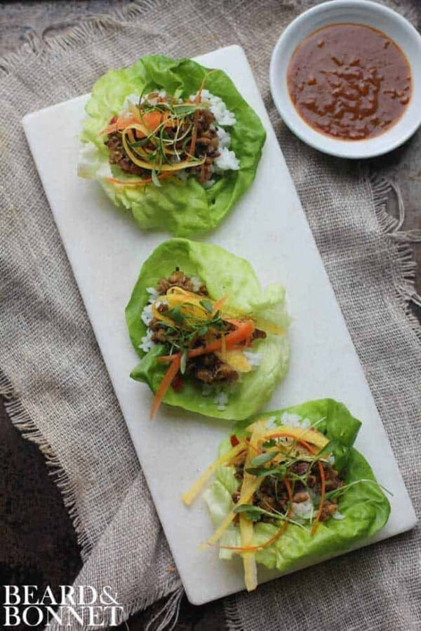 Asian Lettuce Wraps with Homemade Hoisin Sauce || @thismessisours