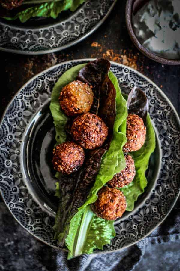 Sweet Potato & Millet Falafel in lettuce wraps