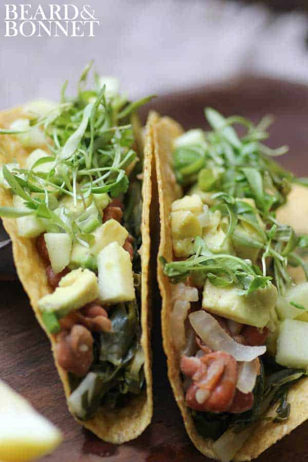 Pinto Bean and Swiss Chard Tacos with Tart Apple & Avocado Salsa AKA: Southern Comfort Food Tacos!! {Beard and Bonnet} #glutenfree #vegan