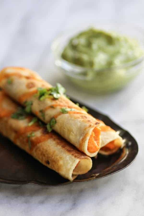 Sweet Potato & Lime Taquitos recipe || Tangy, sweet, and a tad bit spicy. The perfect taquito for just about any occasion! || @thismessisours #glutenfree #vegan