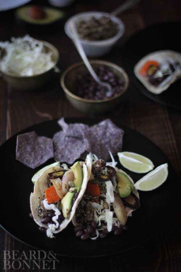 Roasted Carrot, Black Bean, and Quinoa Tacos {Beard and Bonnet} #glutenfree #vegan