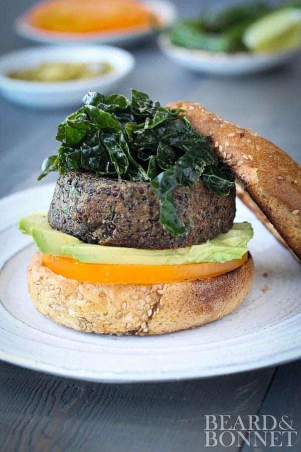 Black Bean and Quinoa Veggie Burger {Beard and Bonnet} #glutenfree