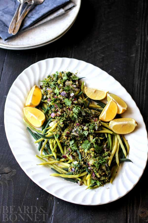 Green Beans with Red Onion, Pistachios, and Herbs {Beard and Bonnet} #glutenfree