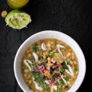 Grilled Mexican Street Corn Soup & Massel {Beard and Bonnet} #glutenfree #vegan