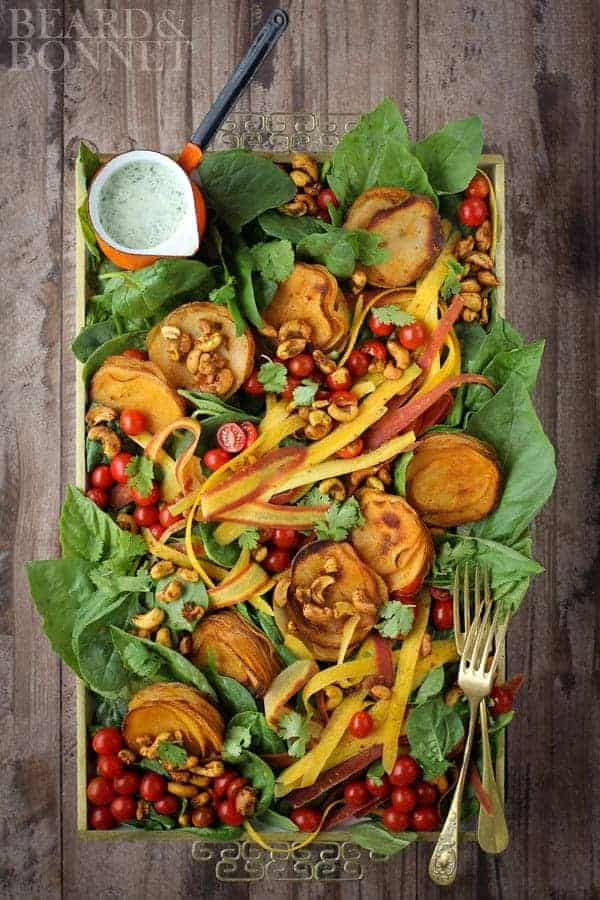 Roasted Red Curry Potato Stack Salad {Beard and Bonnet}