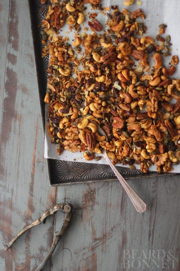 Curry Roasted Trail Mix {Beard and Bonnet}