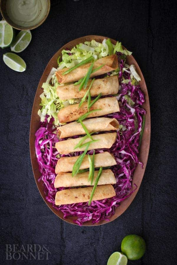 Spicy Potato Taquitos with Roasted Jalapeno and Avocado Cashew Cream {Beard and Bonnet}