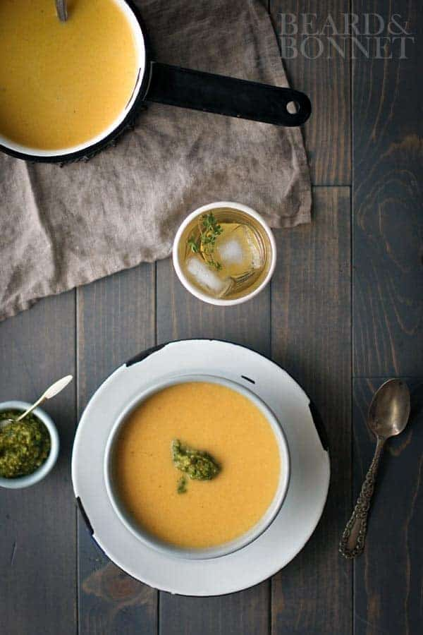 Creamy Roasted Butternut Soup with Spicy Green Romesco {Beard and Bonnet}