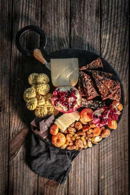 A dessert inspired cheese board with gluten free Italian Polenta cookies
