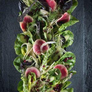 Pickled Watermelon Radish, Sweet Greens, Fennel, & Pomegranate Salad {Beard and Bonnet}