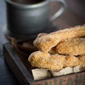 Gluten Free Churros and Chocolate Sauce {@beardandbonnet www.thismessisours.com }