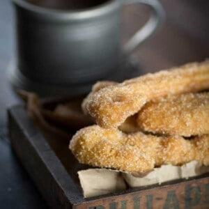 Gluten Free Churros and Chocolate Sauce {@beardandbonnet www.beardandbonnet.com }