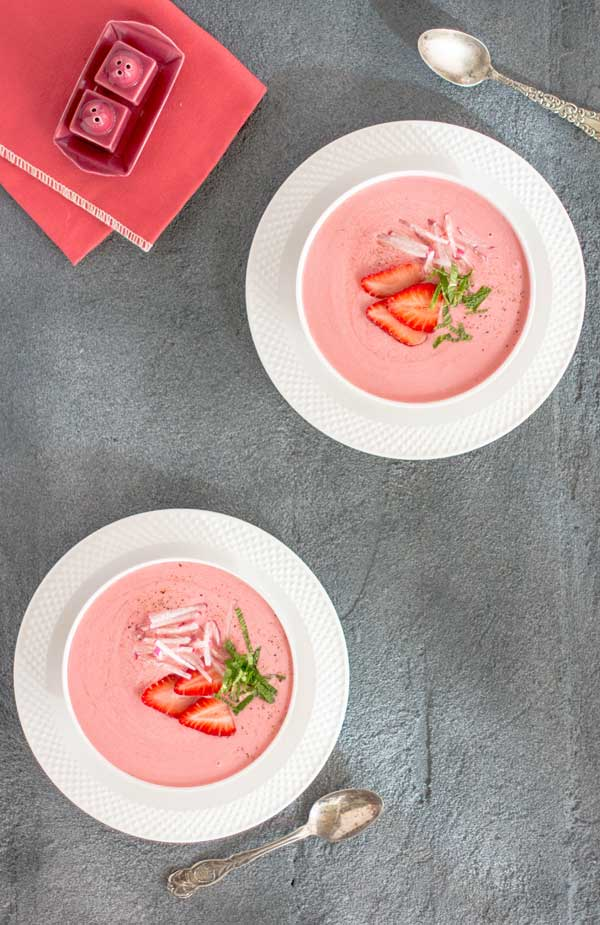 This Chilled Strawberry Soup is the perfect silky smooth treat to celebrate the beginning of strawberry season!