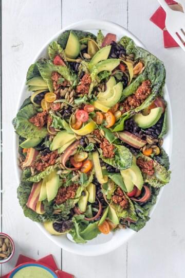 The Ultimate Vegan Taco Salad recipe { @beardandbonnet } www.thismessisours.com