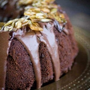 Mexican Chocolate Bundt Cake with Spicy Pepita Brittle recipe { @beardandbonnet www.thismessisours.com }