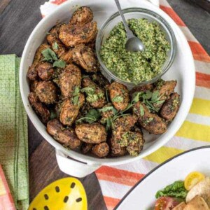 Paprika Roasted Potatoes with Cilantro Pesto recipe { @beardandbonnet www.beardandbonnet.com }