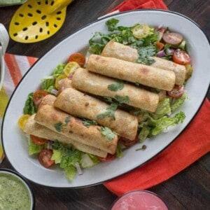 Smoky Lentil Taquitos with Avocado Cilantro Dipping Sauce recipe { @beardandbonnet www.thismessisours.com }