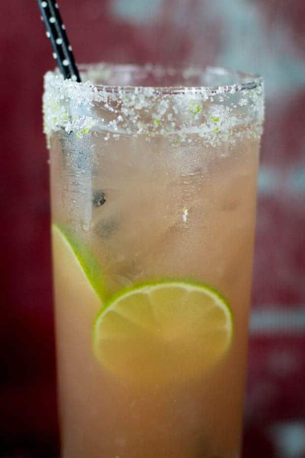 Pink Cadillac Margarita recipe {@beardandbonnet www.thismessisours.com }
