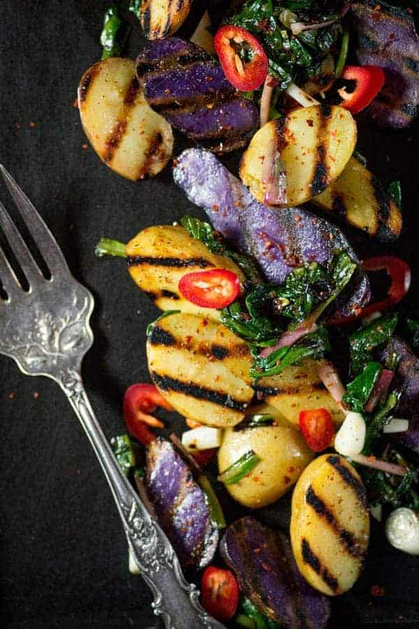 Grilled Potato and Ramp Salad recipe { @beardandbonnet www.thismessisours.com }