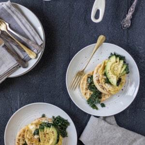 Savory Waffles with Garlicky Greens, Eggs, and Avocado { @beardandbonnet www.beardandbonnet.com }